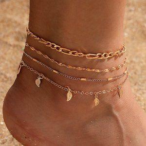 Boho Gold Drop Leaf Anklet Set NEW